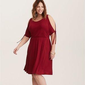 Torrid cold shoulder skater dress in red